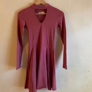 Pink Keyhole Long Sleeve Skater Dress XS